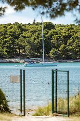 THEMENBILD - ein Segelboot vor der Küste in der Adria, aufgenommen am 27. Juni 2018 in Pula, Kroatien // a sailboat off the coast in the Adriatic Sea, Pula, Croatia on 2018/06/27. EXPA Pictures © 2018, PhotoCredit: EXPA/ JFK