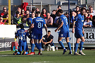 AFC Wimbledon attacker Michael Folivi (41) celebrating after scoring goal to make it 1-00 during the EFL Sky Bet League 1 match between AFC Wimbledon and Charlton Athletic at the Cherry Red Records Stadium, Kingston, England on 23 February 2019.