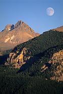 Moon rising over mountains. Grand Teton National Park, WYOMING