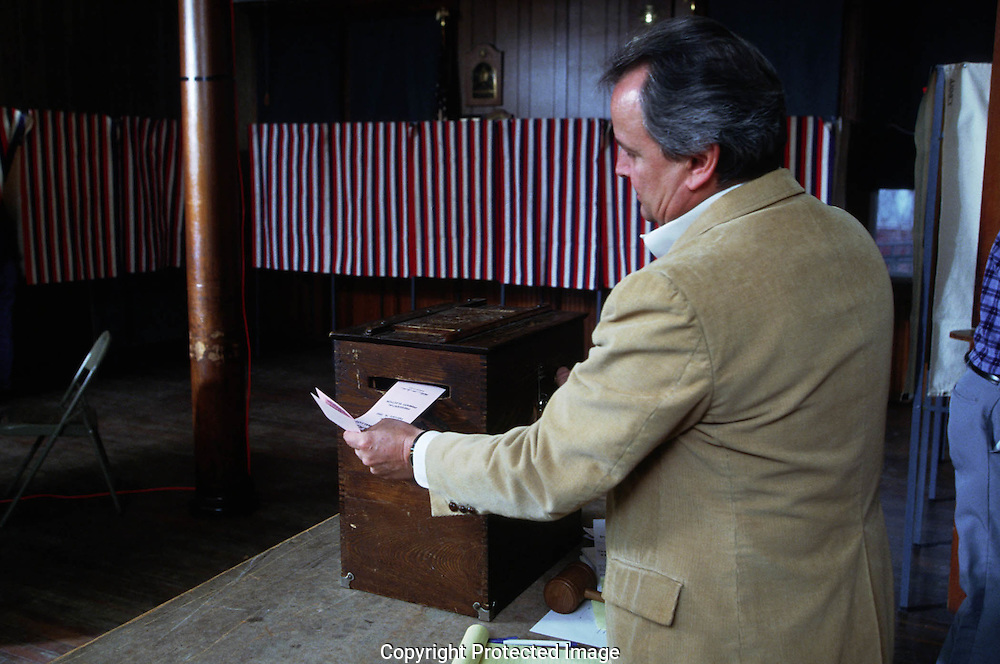 A 27.2 MG FILE FROM FILM OF:.A man voting during the New Hampshire Primary. Photo by Dennis Brack