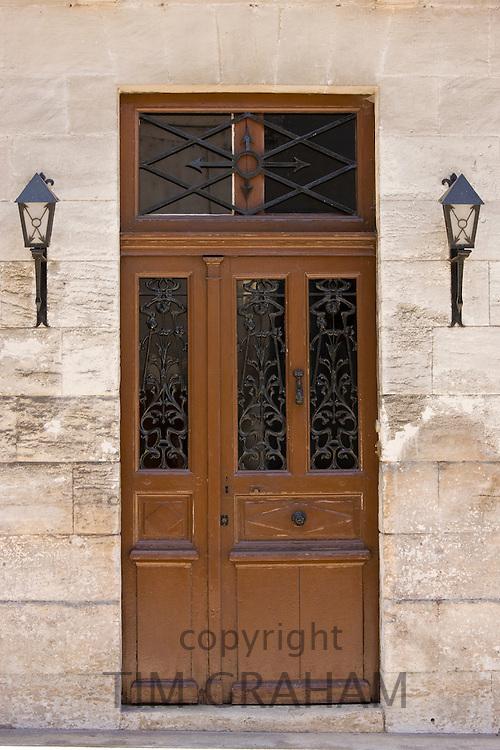Typical French doorway in Bourdeilles popular tourist destination near Brantome in Northern Dordogne, France