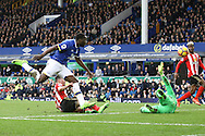 Romelu Lukaku of Everton shoots and scores his teams 2nd goal. Premier league match, Everton v Sunderland at Goodison Park in Liverpool, Merseyside on Saturday 25th February 2017.<br /> pic by Chris Stading, Andrew Orchard sports photography.