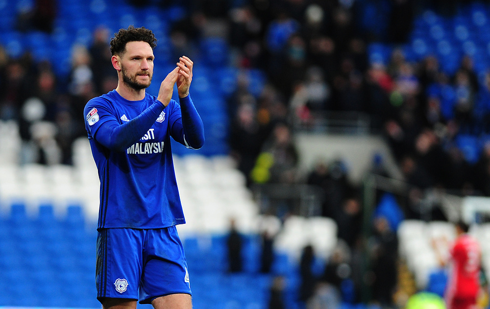 Cardiff City's Sean Morrison applauds the fans at the final whistle <br /> <br /> Photographer Ashley Crowden/CameraSport<br /> <br /> The EFL Sky Bet Championship - Cardiff City v Middlesbrough - Saturday 17th February 2018 - Cardiff City Stadium - Cardiff<br /> <br /> World Copyright © 2018 CameraSport. All rights reserved. 43 Linden Ave. Countesthorpe. Leicester. England. LE8 5PG - Tel: +44 (0) 116 277 4147 - admin@camerasport.com - www.camerasport.com