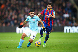31 December 2017 -  Premier League - Crystal Palace v Manchester City - Sergio Aguero of Manchester City in action with Luka Milivojevic of Crystal Palace - Photo: Marc Atkins/Offside