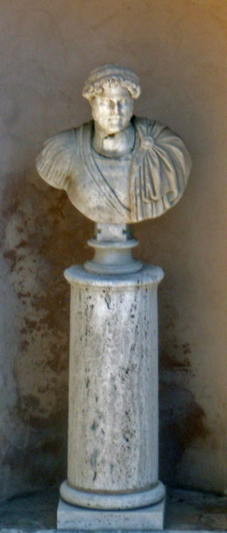 Sculpted bust of the Roman Emperor Hadrian, held at the Castel Sant'Angelo, now a museum, but also his mausoleum. Roman, circa 2nd century AD.