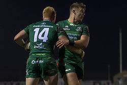 November 3, 2018 - Galway, Ireland - Darragh Leader (14) of Connacht celebrates scoring with teammate Tom Farrell during the Guinness PRO14 match between Connacht Rugby and Dragons at the Sportsground in Galway, Ireland on November 3, 2018  (Credit Image: © Andrew Surma/NurPhoto via ZUMA Press)
