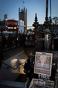 As the vote of no confidence for Prime Minister Theresa May's leadership in the Conservative Party occurs because of her handling of the Brexit deal with the EU, her face and a headline quote referring to Margaret Thatcher appears on the front page of the London Evening Standard at the entrance of Westminster tube station opposite Parliament in Westminster, on 12th December 2018, in London, England.