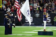"""Houston native and participant of the hit television show """"The Voice"""" Sarah Grace sings the National Anthem before the Houston Texans NFL week 8 regular season football game against the Miami Dolphins on Thursday, Oct. 25, 2018 in Houston. The Texans won the game 42-23. (©Paul Anthony Spinelli)"""