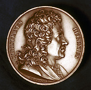 Christiaan Huyghens (1629-95) Dutch physicist. Pendulum clock: Wave theory of light. Portrait from obverse of commemorative medal