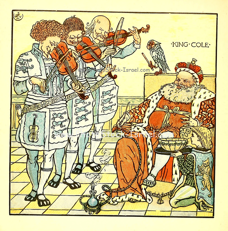 Old King Cole was a merry old soul / And a merry old soul was he. / He called for his pipe and he called for his bowl / And he called for his fiddlers three. From the Book '  The baby's opera : a book of old rhymes, with new dresses by Walter Crane, and Edmund Evans Publishes in London and New York by F. Warne and co. in 1900