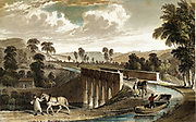 Torridge (Rolle) Canal: Rolle aqueduct near Torrington, Devon, England. Horses drawing tub boats. Engineer: James Green. Hand-coloured engraving after T Allom from 'Devonshire Illustrated' 1829.