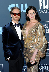 Anne Hathaway and Adam Shulman at the 25th Annual Critics' Choice Awards held at the Barker Hangar in Santa Monica, USA on January 12, 2020.