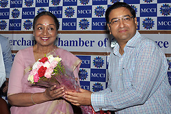 May 6, 2017 - Kolkata, West Bengal, India - Former speaker of Lok Sabha, Meira Kumar and President MCCI Hemant Bangur during interactive session on ''Challenges of Parliamentary Democracy in India'' at Merchant Chamber of Commerce & Industry in Kolkata on May 6, 2017. (Credit Image: © Saikat Paul/Pacific Press via ZUMA Wire)