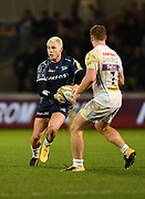 Sale Sharks stand-off James O'Connor runs at Exeter Chiefs flanker Sam Simmonds during the The Aviva Premiership match Sale Sharks -V- Exeter Chiefs  at The AJ Bell Stadium, Salford, Greater Manchester, England on Friday, October 27, 2017. (Steve Flynn/Image of Sport)