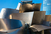 Architect Frank Gehry's Guggenheim Museum futuristic architectural design in titanium and glass at Bilbao, Basque country, Spain