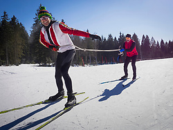Men learning cross country skiing course, Black-Forest, Baden-Wuerttemberg, Germany