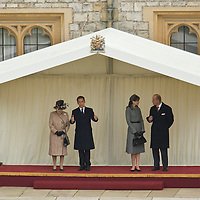 Windsor 26th March 2008 French State visit , Presiden of French Republique , Mr and Mrs Sarkozy  met by the Queen and Duke of Edinburgh at Windsor Castle