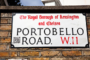 Portobello Road market street sign, Notting Hill, West London. This famous Sunday market is when the antique stalls come out as well as the food stalls.
