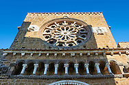 Rose Window and loggia, 1206, on the Facade of the Romanesque Basilica Church of Santa Maria Maggiore, Tuscania .<br /> <br /> Visit our ITALY PHOTO COLLECTION for more   photos of Italy to download or buy as prints https://funkystock.photoshelter.com/gallery-collection/2b-Pictures-Images-of-Italy-Photos-of-Italian-Historic-Landmark-Sites/C0000qxA2zGFjd_k .<br /> <br /> Visit our MEDIEVAL PHOTO COLLECTIONS for more   photos  to download or buy as prints https://funkystock.photoshelter.com/gallery-collection/Medieval-Middle-Ages-Historic-Places-Arcaeological-Sites-Pictures-Images-of/C0000B5ZA54_WD0s
