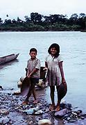 Local indigenous children Rio Napa, Ecuador, Amazon Basin, South America 1974