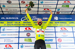 Overall winner Tadej POGACAR of UAE TEAM EMIRATES celebrates in green jersey at trophy ceremony after the 4th Stage of 27th Tour of Slovenia 2021 cycling race between Ajdovscina and Nova Gorica (164,1 km), on June 12, 2021 in Slovenia. Photo by Vid Ponikvar / Sportida