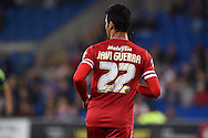 Javi Guerra of Cardiff city looks on. Skybet football league championship match, Cardiff city v Middlesbrough at the Cardiff city stadium in Cardiff, South Wales on Tuesday 16th Sept 2014<br /> pic by Andrew Orchard, Andrew Orchard sports photography.