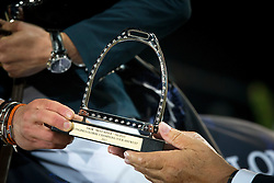 Delestre Simon, (FRA),  receiving a stirrup with 96 Diamonds out pof the hands of Mr Willy Henneusse (Antwerp World Diamond Center) as the Best rider the show <br /> Grand Prix CSI 5*<br /> Longines Global Champions Tour - Antwerp 2015<br />  © Hippo Foto - Dirk Caremans<br /> 25/04/15