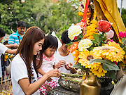 """12 JULY 2014 - PHRA PHUTTHABAT, SARABURI, THAILAND: A woman and her daughter pray before the Tak Bat Dok Mai at Wat Phra Phutthabat in Saraburi province of Thailand. Wat Phra Phutthabat is famous for the way it marks the beginning of Vassa, the three-month annual retreat observed by Theravada monks and nuns. The temple is highly revered in Thailand because it houses a footstep of the Buddha. On the first day of Vassa (or Buddhist Lent) people come to the temple to """"make merit"""" and present the monks there with dancing lady ginger flowers, which only bloom in the weeks leading up Vassa. They also present monks with candles and wash their feet. During Vassa, monks and nuns remain inside monasteries and temple grounds, devoting their time to intensive meditation and study. Laypeople support the monks by bringing food, candles and other offerings to temples. Laypeople also often observe Vassa by giving up something, such as smoking or eating meat. For this reason, westerners sometimes call Vassa """"Buddhist Lent.""""    PHOTO BY JACK KURTZ"""