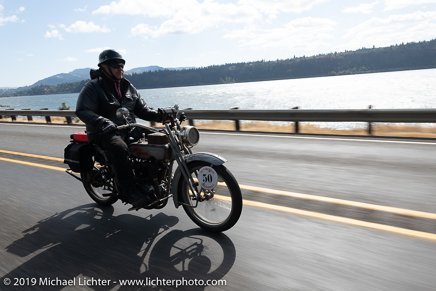 Ted Walters riding his 1916 Harley-Davidson model J on the Motorcycle Cannonball coast to coast vintage run. Stage 15  (51 miles - the Grand Finish) from The Dalles to Stevenson, OR. Sunday September 23, 2018. Photography ©2018 Michael Lichter.