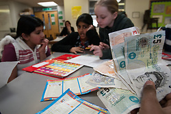 Children learning about money, primary school UK