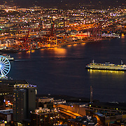 Ferry and the Great Wheel, Elliot Bay, from the Space Needle, Seattle, WA