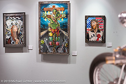 "Richie Pan's original oil paintings in the ""Built for Speed"" exhibition curated by Michael Lichter and Paul D'Orleans in the Russ Brown Events Center as part of the annual ""Motorcycles as Art"" series at the Sturgis Buffalo Chip during the Black Hills Motorcycle Rally. SD, USA. August 7, 2014.  Photography ©2014 Michael Lichter."