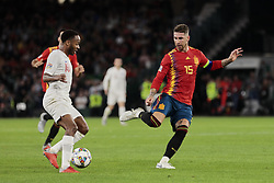 Spain's Sergio Ramos and England's Raheem Sterling during UEFA Nations League 2019 match between Spain and England at Benito Villamarin stadium in Sevilla, Spain. October 15, 2018. Photo by A. Perez Meca/Alterphotos/ABACAPRESS.COM