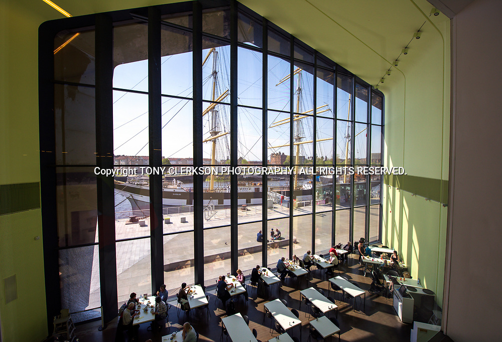 Interior of the Riverside Museum, with the Tall Ship seen through the window.