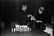 "17/12/1962<br /> 12/17/1962<br /> 17 December 1962<br /> Presentation of Packaging Awards at the Shelbourne Hotel, Dublin. Leo (Ireland) Ltd. had won the ""Eurostar"" international award for packaging. Picture shows Mr. W.H. Walsh, General Manager of Coras Tractala and chairman of the Irish Packaging Institute, presenting the certificate for designing the winning pack to Mrs R. Walker, Manager of Signa Design Consultants."