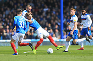 Ryan MCLaughlin makes a challenge during the EFL Sky Bet League 1 match between Portsmouth and Rochdale at Fratton Park, Portsmouth, England on 13 April 2019.