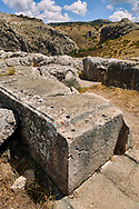 Dressed stone blocks of Temple I walls with round holes that held pins to tie in the blocks above.  Hattusa (also Ḫattuša or Hattusas) late Anatolian Bronze Age capital of the Hittite Empire. Hittite archaeological site and ruins, Boğazkale, Turkey.