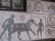 Italy, Rome, Colosseum, gladiator mosaic,