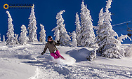Jarmila Hradil skiing powder on bluebird morning at Whitefish Mountain Resort, Montana, USA model released