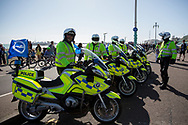 Sussex Police await the open top bus during the Brighton & Hove Albion Football Club Promotion Parade at Brighton Seafront, Brighton, East Sussex. United Kingdom on 14 May 2017. Photo by Ellie Hoad.