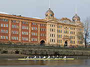 Putney, GREAT BRITAIN,   2008 Boat Race, Tideway Week,  Cambridge Blue Boat passes Harrods depository during the  training outing on the River Thames, Thur's. 27.03.2008 CUBC Crew Bow. Right to left, Colin SCOTT, Tim PERKINS, Henry PELLY, Tobias GARNETT, Peter MARSHLAND, Tom RANSLEY, Tom EDWARDS, Ryan MONAGHAN, Cox Rebecca DOWBIGGIN. [Mandatory Credit, Peter Spurrier / Intersport-images Varsity Boat Race, Rowing Course: River Thames, Championship course, Putney to Mortlake 4.25 Miles, , Pete Marsland