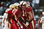 ORADELL, NJ - November 14: The defensive unit for Bergen Catholic celebrate after holding rival Don Bosco Prep to 0 points at half.<br /> <br /> We are in the midst of witnessing something this world hasn't seen - a global pandemic. The coronavirus has swept away the world and the United States in March of 2020 - since then, the world we know It hasn't been the same. Jobs, businesses and futures have been put on hold and lost, yet we have to power through to overcome one of the greatest obstacles this world has faced. The high school football season wasn't suppose to happen but a glimmer of hope, intense safety measures & a little bit of luck has allowed for the season to start, now the question is ' Can It be completed?'<br /> <br /> Photo by Johnnie Izquierdo
