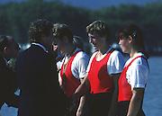 Banyoles, SPAIN, Russian Women's Quadruple Sculls, RUS W4X: Bronze Medalist crew: presentation party, left FISA CEO. John BOULTBEE and FISA President Dennis OSWALD, CCCP W4X. Elena KHLOPTSEVA: Ekaterina KARSTEN: Tatjana USTIUJANINA: Antonina ZELIKOVITCH.  1992 Olympic Regatta, Lake Banyoles, Barcelona, SPAIN.    [Mandatory Credit: Peter Spurrier: Intersport Images]