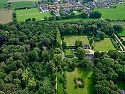 Nederland, Overijssel, Gemeente Zwolle, 21–06-2020; Landgoed Windesheim. Van de voormaligehavezateHuis te Windesheim resten nog (slechts) twee bouwhuizen, rond de ruïne van het huis de slotgracht. Op het tweede plan het gelijknamige dorp.<br /> Windesheim estate. Only two assistance houses are left from the former manor house Windesheim.<br /> <br /> luchtfoto (toeslag op standaard tarieven);<br /> aerial photo (additional fee required)<br /> copyright © 2020 foto/photo Siebe Swart