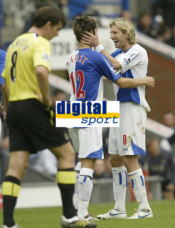Photo: Aidan Ellis.<br /> Blackburn Rovers v Manchester City. The Barclays Premiership. 17/09/2006.<br /> Blackburn's Robbie Savage congratulayes first goal scorer Morten Gamst Pedersen