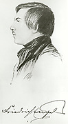 'Friedrich Engels (1820-1895) at the age of 19. German-English industrialist, political theorist, philosopher, and social scientist.Co-founder, with Karl Marx, of Marxism.'