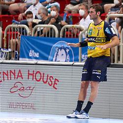 Handball, 35. Spieltag: Bergischer HC vs Rhein Neckar Loewen am 16.06.2021 im ISS Dome Düsseldorf<br /> <br /> Uwe Gensheimer (Rhein Neckar Loewen 3) nimmt das Tempo raus im Spiel der Handballliga, Bergischer HC - Rhein Neckar Loewen.<br /> <br /> Foto © PIX-Sportfotos *** Foto ist honorarpflichtig! *** Auf Anfrage in hoeherer Qualitaet/Aufloesung. Belegexemplar erbeten. Veroeffentlichung ausschliesslich fuer journalistisch-publizistische Zwecke. For editorial use only.