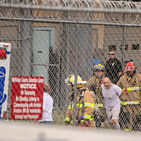 072315       Cable Hoover<br /> <br /> Gallup firefighters evacuated one inmate during a disturbance at the McKinley County Detention Center Thursday.