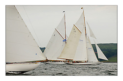 The bow of Clio encroaches to windward of the Gaff Cutters Moonbeam and The Lady Anne and Sonata a sloop...This the largest gathering of classic yachts designed by William Fife returned to their birth place on the Clyde to participate in the 2nd Fife Regatta. 22 Yachts from around the world participated in the event which honoured the skills of Yacht Designer Wm Fife, and his yard in Fairlie, Scotland...FAO Picture Desk..Marc Turner / PFM Pictures