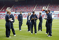 Photo: Chris Ratcliffe.<br /> West Ham United v Tottenham Hotspur. The Barclays Premiership. 07/05/2006.<br /> Spurs players arrive for the game amidst the confusion over whether the game was going to be on or not.